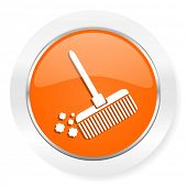 broom orange computer icon