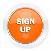 sign up orange computer icon