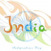 Stylish text India in national tricolors on ashoka wheel background for Indian Independence Day cele