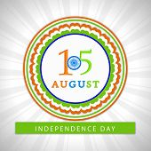 15th of August, Indian Independence Day celebrations concept with stylish sticky on grey rays backgr