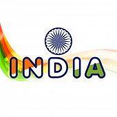 Indian Independence Day celebrations background with colorful text India and ashoka wheel on white b
