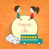 Happy Friendship Day celebrations concept with cute little children with school bus on abstract back