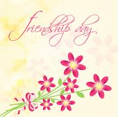 Greeting card design on occasion of Happy Friendship Day celebrations with pink flowers bunch on bri