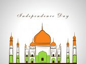 Indian famous monument Taj Mahal in national tricolors on grey background for Indian Independence Day celebrations.