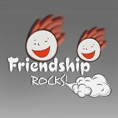 Happy Friendship Day celebrations concept with happy friends on grey background.