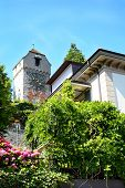 LUCERN, SWITZERLAND - JULY 3, 2014: Zyt Tower the Musegg Wall, Lucern. It is the oldest city clock,