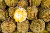 Fresh Durian At Market