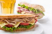 Healthy Wafer Thin Roast Turkey Breast, Cheese, Fresh Tomato and Lettuce Sandwich