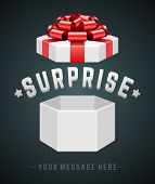 Gift box open and with red bow and ribbon vector background. Surprise message.