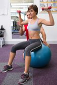 Personal trainer with client lifting dumbbells on exercise ball at the gym