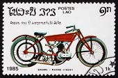 Postage Stamp Laos 1985 Gnome Rhone, 1920, Motorcycle