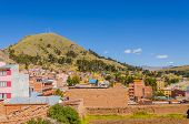 COPACABANA, BOLIVIA, MAY 6, 2014 - general view of town and hills