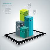 Minimal Style Infographic Templat Ewith Tablet Pc.