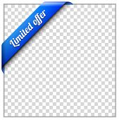 Blue corner ribbon template with white paper frame and transparent background. Put your own background image. Limited offer corner ribbon vector illustration