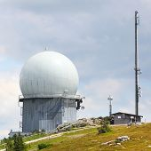 GROSSER ARBER, GERMANY - JULY 16 2014: NATO distant early warning, high-resolution radar on 1456 m h