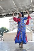 ZAGREB, CROATIA - JULY 20: Members of folk groups Egyptian National Folklore Troupe from Egypt durin
