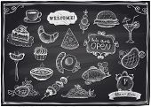 Hand drawn assorted food and drinks graphic symbols set  on a chalkboard background. Eps10