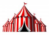 stock photo of tent  - Circus tent design element as a group of big top carnival tents with an opening entrance as a fun entertainment icon for a theatrical celebration or party festival isolated on a white background - JPG