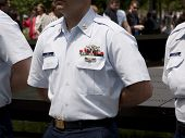 NEW YORK - MAY 23, 2014: A close up of a United States Coast Guardsman standing at attention during