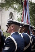 NEW YORK - MAY 23: Members of the US Coast Guard Silent Drill Team perform in Herald Square in front