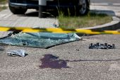 stock photo of accident victim  - Horizontal view of serious car accident with victim - JPG
