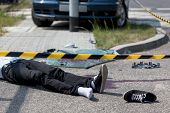 stock photo of accident victim  - Horizontal view of male victim of car crash - JPG