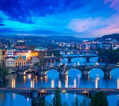 Travel Prague concept background - elevated view of bridges over Vltava river from Letn�?�?�?�¡