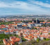 Aerial view of Hradchany part of Prague: the Saint Vitus Cathedral and Prague Castle, view from Petr