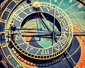 Vintage retro effect filtered hipster style travel image of astronomical clock on Town Hall. Prague, Czech Republic