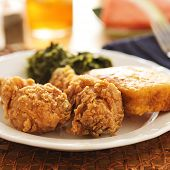 soul food - fried chicken with collard greens and corn bread