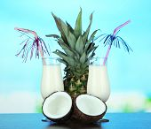 stock photo of pina-colada  - Pina colada drink in cocktail glass - JPG