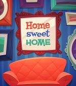 stock photo of interior sketch  - Sweet home card  - JPG