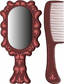 Set from an oval mirror in a brown frame and hairbrushes