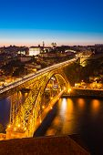 pic of dom  - Dom Luiz bridge in Porto Portugal at dusk - JPG