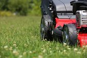 picture of greenery  - Lawn mower on the grass during the summer day - JPG