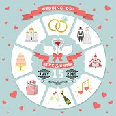 Wedding Invitation In Infographic Style. Swans Couple