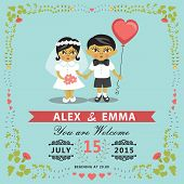 Wedding Invitation With Asian Baby Bride,groom,floral Frame.eps