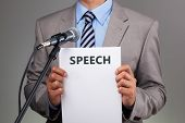 stock photo of emcee  - Interview or making a speech with microphone concept for speech - JPG