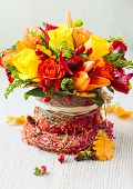 basket of autumn flowers for holiday