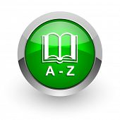 dictionary green glossy web icon
