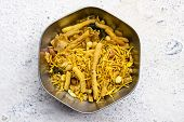 picture of mixture  - Indian snack savouries called mixture made from gram flour - JPG