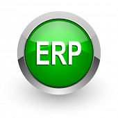 erp green glossy web icon