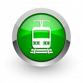 train green glossy web icon