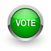 vote green glossy web icon