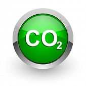 stock photo of carbon-dioxide  - carbon dioxide green glossy web icon - JPG