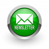 newsletter green glossy web icon