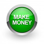 make money green glossy web icon