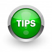 tips green glossy web icon