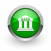 bank green glossy web icon