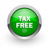 tax free green glossy web icon